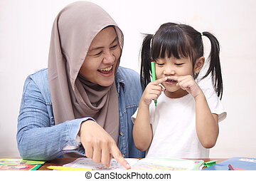 Asian muslim mother drawing with her daughter, single mom teaching baby girl, happy family