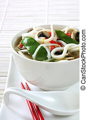 Asian Noodle Soup - Bowl of udon noodle soup with vegetables...