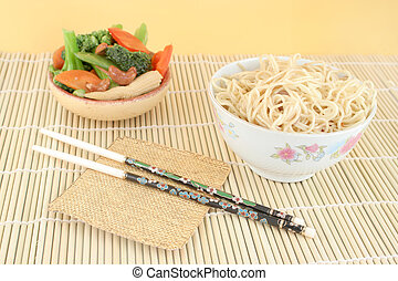 asian noodles and vegetables - delicious chinese lo mein...