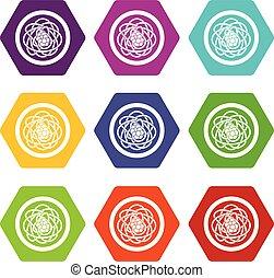 Asian noodles icon set color hexahedron