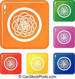 Asian noodles icons set vector color