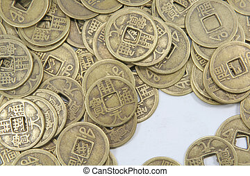 Asian Old Business Currency Coins Pile Background