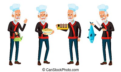 Asian Old Man Poses Set Vector. Elderly Chef In Restaurant. Rolls, Fish. Senior Person. Aged. Funny Announcement, Cover Design. Isolated Cartoon Illustration
