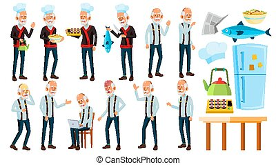 Asian Old Man Poses Set Vector. Elderly People. Senior Person. Aged. Chef In Restaurant. Rolls, Fish. Presentation, Print, Invitation Design. Isolated Cartoon Illustration