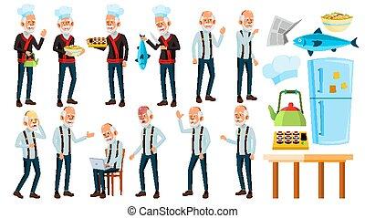 Asian Old Man Poses Set Vector. Elderly People. Senior ...