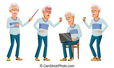 Asian Old Man Set Vector. Gray Hair. Elderly People. Senior ...