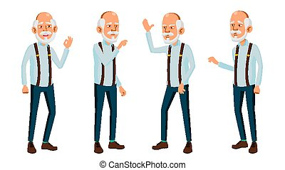 Asian Old Man Vector. Elderly People. Senior Person. Aged. ...