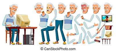 Asian Old Man Vector. Senior Person Portrait. Elderly People...