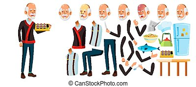 Asian Old Man Vector. Senior Person Portrait. Elderly People. Aged. Animation Creation Set. Face Emotions, Gestures. Funny Pensioner. Leisure. Cover Design. Animated. Isolated Cartoon Illustration