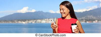 asian, online., pijące igrzyska, praca, video, wole, kobieta, app, reklama, chorągiew, ruchomy, używając, relaxing., styl życia, copyspace, krajobraz, kawa, vancouver, telefon, gra, kobieta interesu, tło.