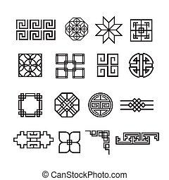 Asian ornament icon, korean, chinese, japanese vector set