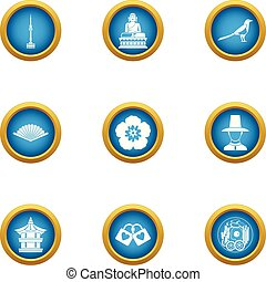 Asian oversight icons set, flat style - Asian oversight...