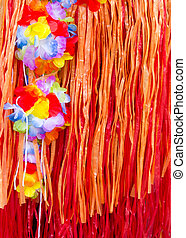 asian pacific islands souvenir of flowers and fringe skirts