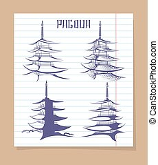 Asian pagoda set on notebook page