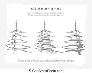 Asian pagoda set on vintage backdrop