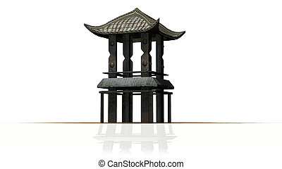Asian pagoda tower - isolated on white background