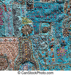 Asian patchwork carpet in Leh, Ladakh, India