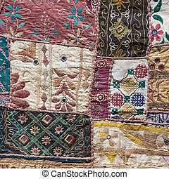 Asian patchwork carpet in Leh, Ladakh, India