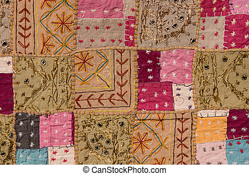 Asian patchwork carpet in Rajasthan, India. Close up