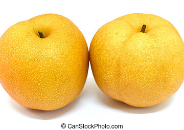Asian pear on white background.