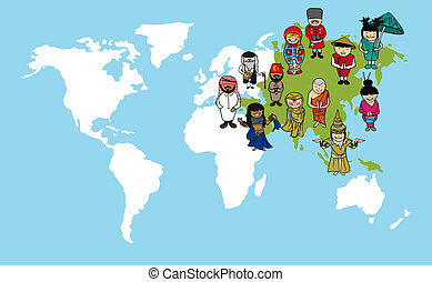 Asian people cartoons, world map diversity illustration.
