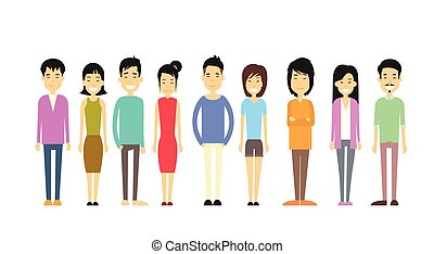 Asian People Group Casual Crowd Flat Vector Illustration