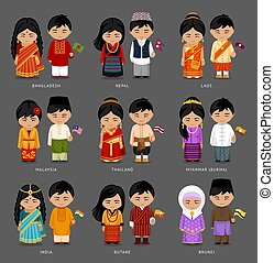 Asian people in national dress.