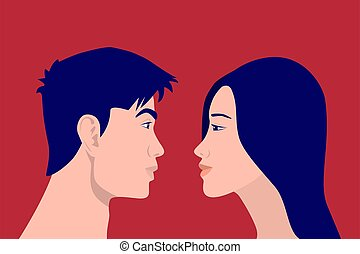 Asian People, Man and Woman Look at Each Other in the ...