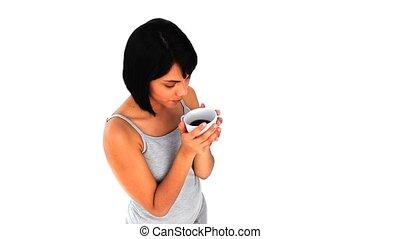 asian, pociągający, filiżanka do kawy, kobieta, picie