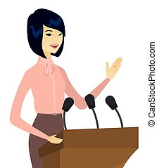 Asian politician giving a speech from tribune. - Young asian...
