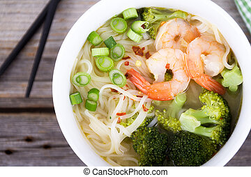 asian prawn noodle soup - asian prawn rice noodle soup high...