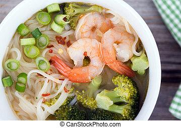 asian prawn noodle soup - asian prawn rice noodle soup...