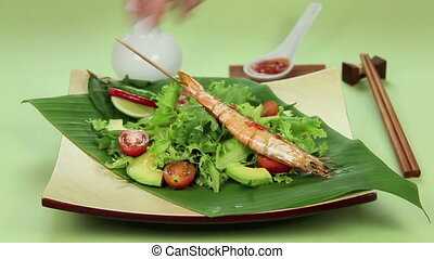 Asian Prawn Skewers - Laying down delicious Asian skewered...