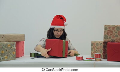 Asian prepares gifts for celebration of Christmas, New Year.