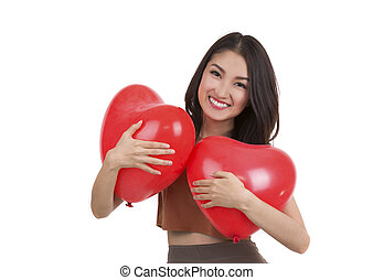 Asian pretty girl and a red heart