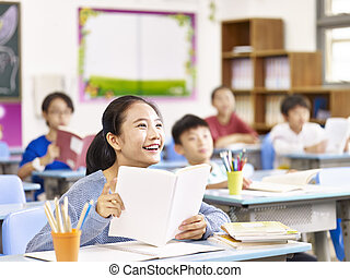asian primary school girl smiling in class
