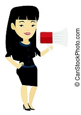 Business woman speaking into megaphone.