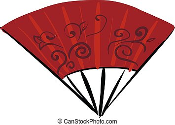 Asian red hand fan, vector or color illustration.