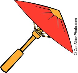 Asian red parasol or umbrella icon cartoon