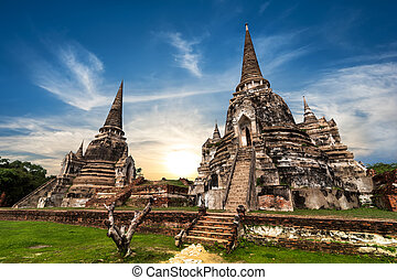 Asian religious architecture. Ancient Buddhist pagoda ruins at W