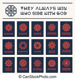 Asian Religious Posters with Buddha Quotes - Asian geometric...