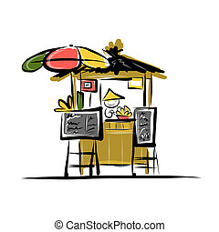 Asian retail seller on street market, sketch for your design