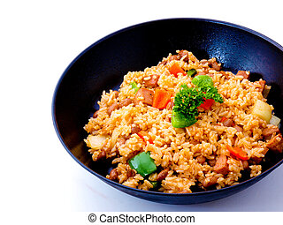 Asian Rice in a pan - gourmet Asian Fried Rice in a pan