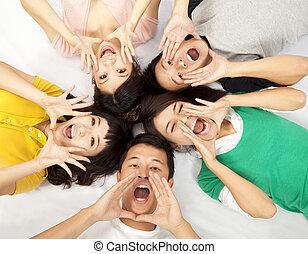 asian, rozkrzyczany, grupa, młodzież