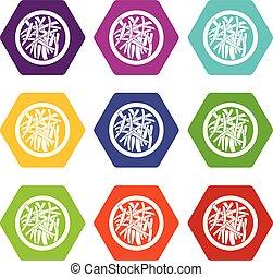 Asian salad icon set color hexahedron
