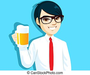 Young asian salaryman holding cold mug of beer in toast gesture pose