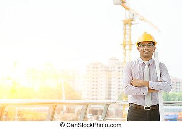 asian samczyk, umiejscawiać, kontrahent, inżynier, portret