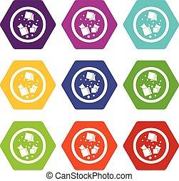 Asian sauce icon set color hexahedron