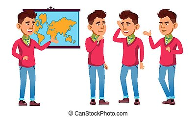 Asian Schoolboy Poses Set Vector. High School Child. Teenage. Beauty, Lifestyle, Friendly. For Announcement, Cover Design. Isolated Cartoon Illustration