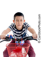 Asian schoolboy with backpack riding a bike isolated on white background